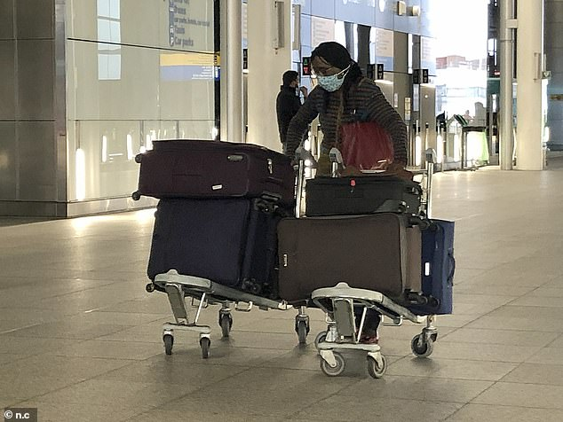All passengers from the UK flying anywhere in America will now need a negative Covid result to board any Virgin Atlantic flight. Pictured: A passenger arrives at Heathrow Airport today