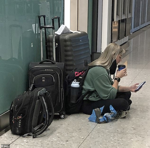 Yesterday, the Covid testing facility, run by Collinson, was forced to close part of one of its Terminal 2 labs - where Virgin flies from - over a leak in one unit. Pictured: A passenger at Heathrow Airport today