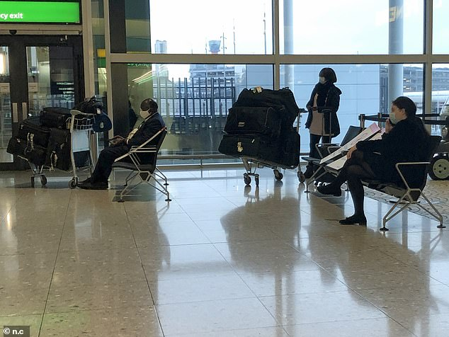 Passengers were today seen waiting at Heathrow's Terminal 2 as flights continue to leave the London airport