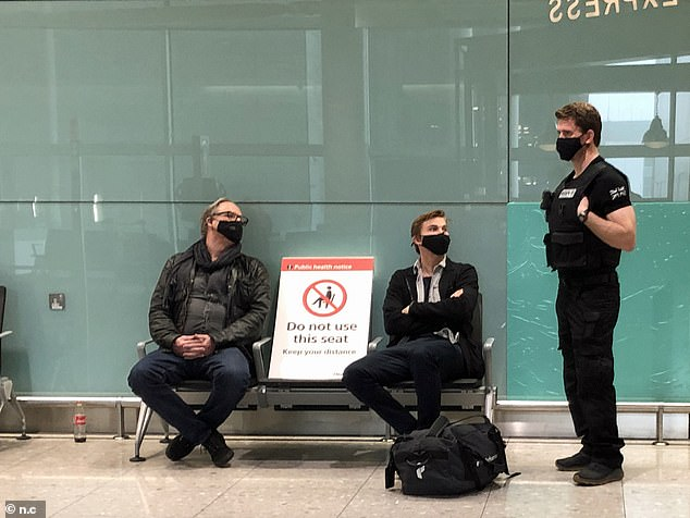 Security staff at Heathrow Airport were seen speaking to customers waiting to fly out this morning