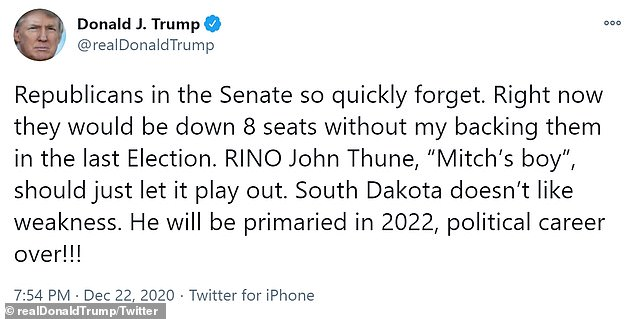 President Trump threatened one of the top Republicans in the Senate, John Thune