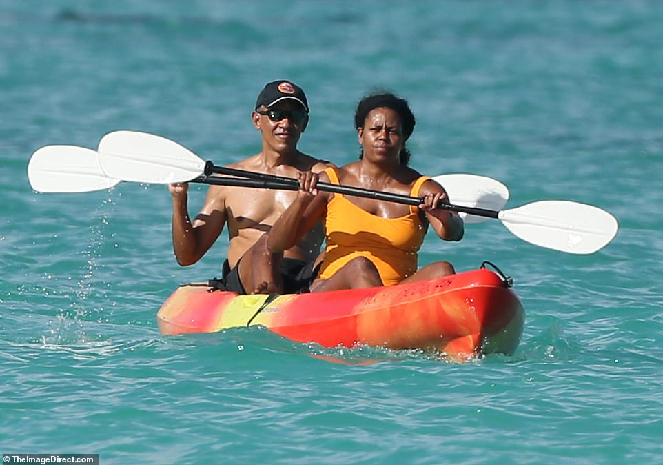 The couple's two daughters, Sasha and Malia, were nowhere to be seen. It's unclear where they are but the family is likely to spend the holidays together