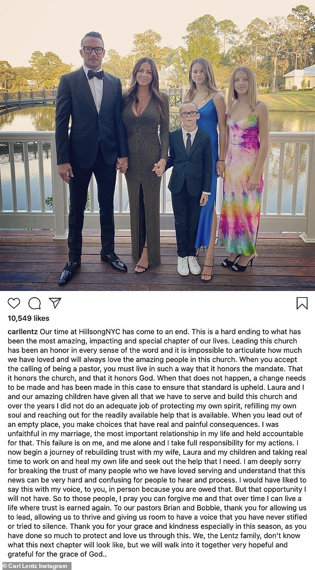 Lentz's Instagram post where he confessed to cheating on his wife of 17 years Laura