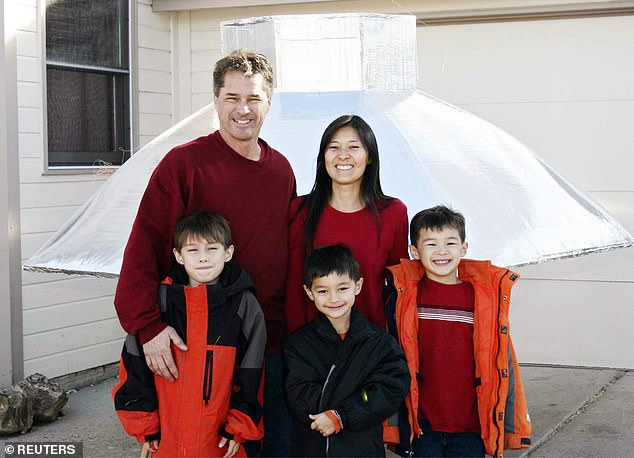 Richard Heene, his wife Mayumi and their sons Bradford, Falcon and Ryo are pictured here with a homemade helium balloon in a promotional photo for the show Wife Swap