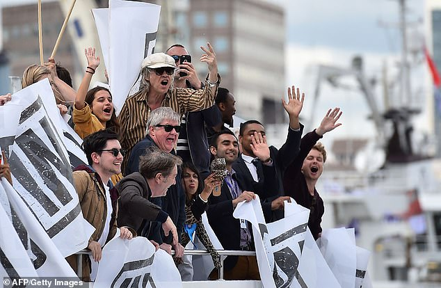 Showboating: Remainers, led by Bob Geldof, jeer at a flotilla of Brit trawlers on the Thames, calling for the restoration of their fishing rights in June 2016