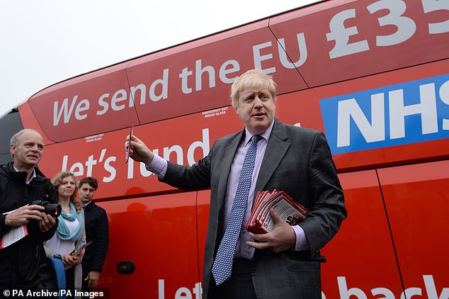 En route to victory: Boris Johnson in 2016 with that controversial bus promising £350 million a week for the NHS after a Brexit win