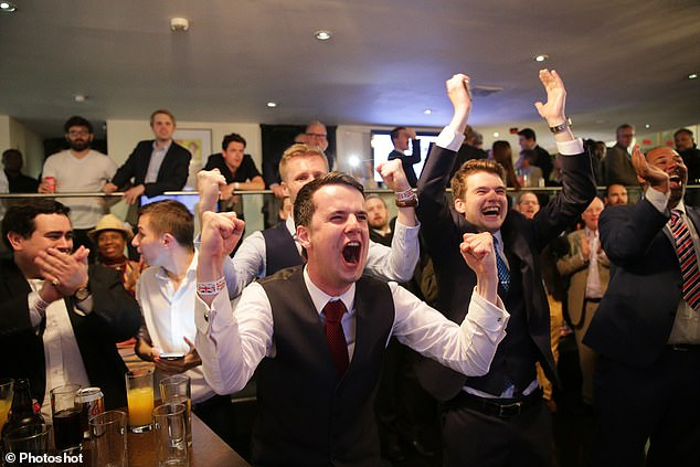 We're out! Leave EU campaigners throw a wild celebration party at their headquarters after their success in the June 23 referendum