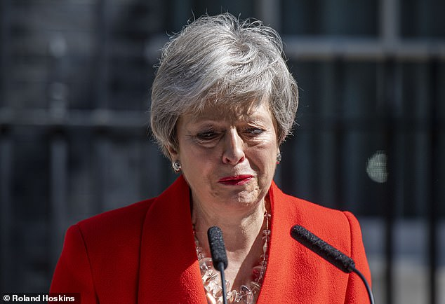 It's all too much: Broken-hearted Theresa May is seen in tears as she announces her resignation in 2019