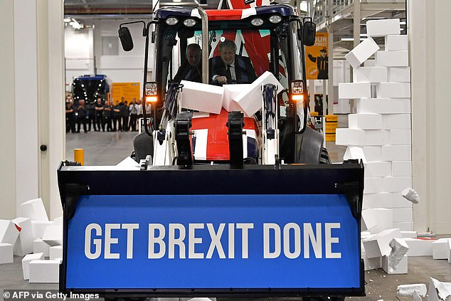 Ramming home his message: PM Boris Johnson drives a Union Flag-branded JBC on the General Election campaign trail last year