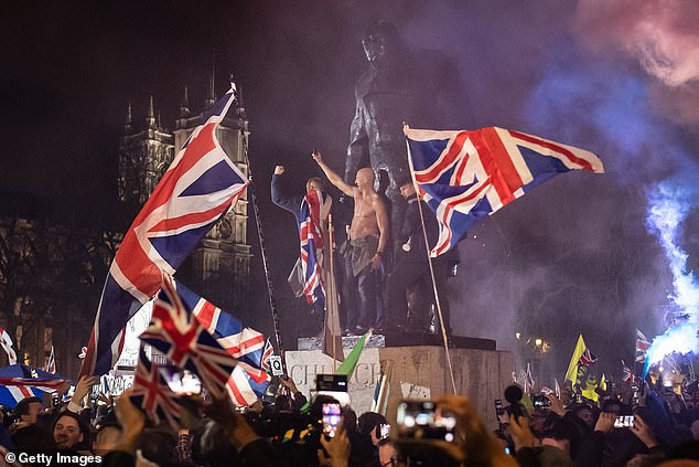 Independence day: Jubilant Brexit supporters celebrating in Parliament Square in London at 11pm on January 31, 2020, when the United Kingdom finally left the European Union — three-and-a-half years after the referendum
