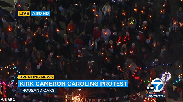 Local news: The caroling protest Tuesday was covered as Breaking News by the local ABC station