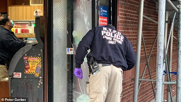 The victim's blood was discovered on the ground outside the deli, as well as on the ATM inside