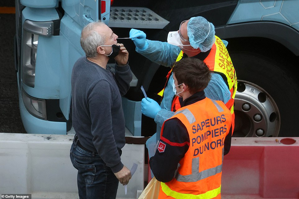 French firefighters armed with 10,000 testing kits have joined the battle to get thousands of stranded lorry drivers across the Channel today, with up to 6,000 lorries now stacked up in Kent