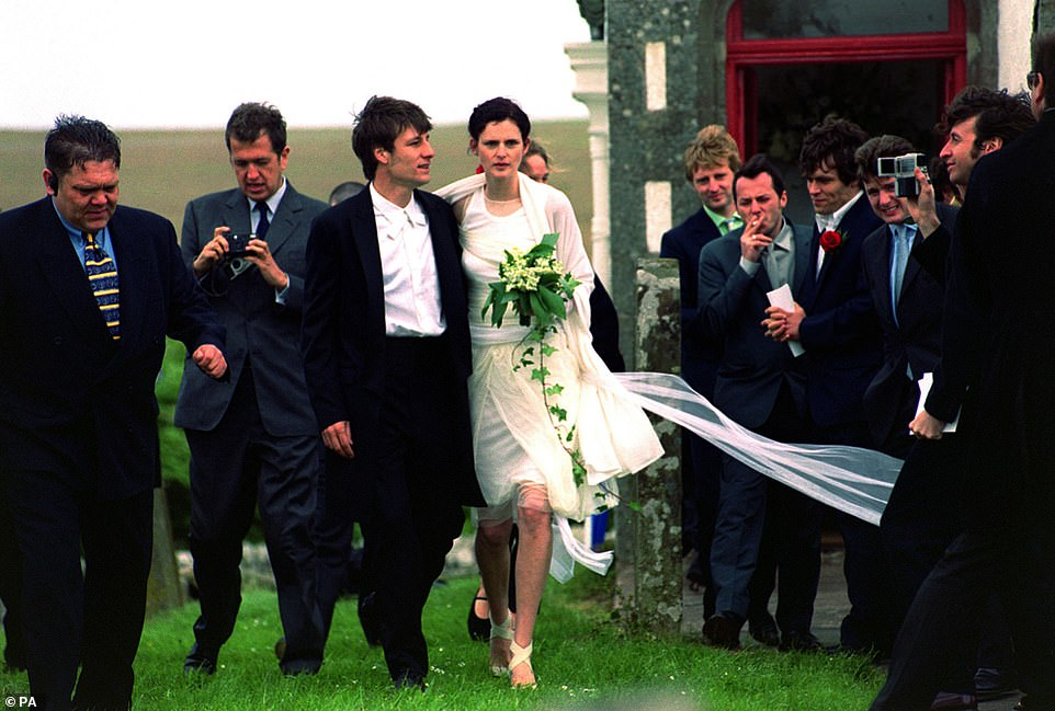 David Lasnet said Stella Tennant (pictured on their wedding day) taught him how to speak English