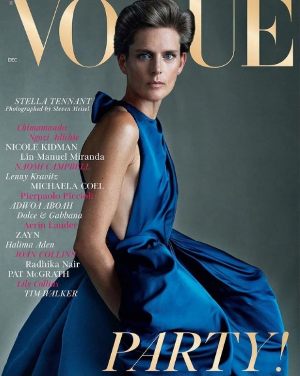 Mrs Tennant was the granddaughter of Andrew Cavendish, the 11th Duke of Devonshire and Deborah Mitford. Pictured: On the cover of Vogue