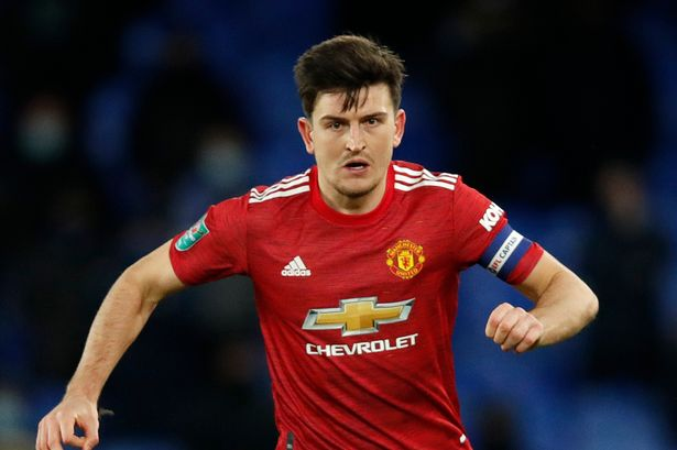 Harry Maguire in action against Everton