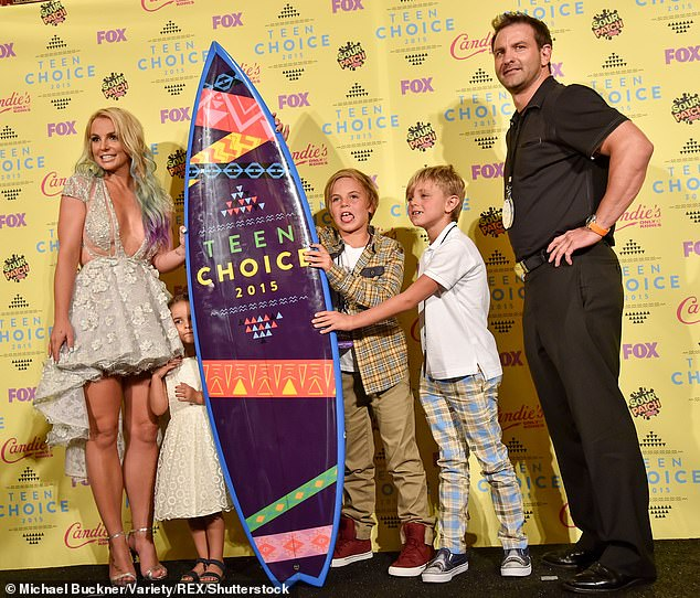 Making it work: Kevin Federline — who has primary custody of both children — is set to host the kids on Christmas Eve and Christmas Day, TMZ reported, as they take it in turns after Britney had the children last Christmas; seen in 2015