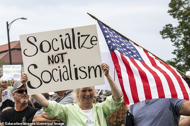 When the respondents were asked if they prefer a free-market economic system or socialism, 75 per cent of participants answered 'free-market economic system'. Only 11 per cent answered 'socialism'. A woman protests against socialism in Minnesota