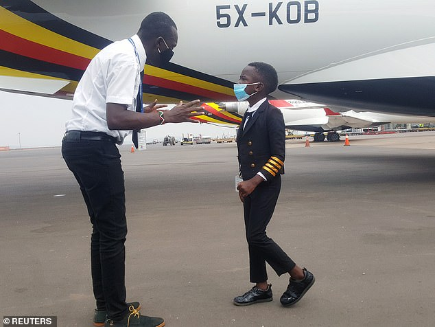 The young boy, nicknamed 'Captain' , who loves maths and science,has already flown as a trainee three times