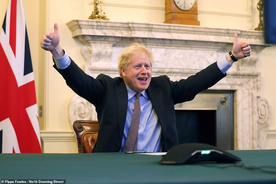 Boris Johnson (pictured speaking to Ursula von der Leyen by video link today) said the UK could now take advantages of the benefits of Brexit