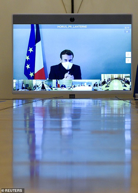 Emmanuel Macron (pictured taking a Cabinet meeting from coronavirus self-isolation) was seen as the biggest obstacle to a deal