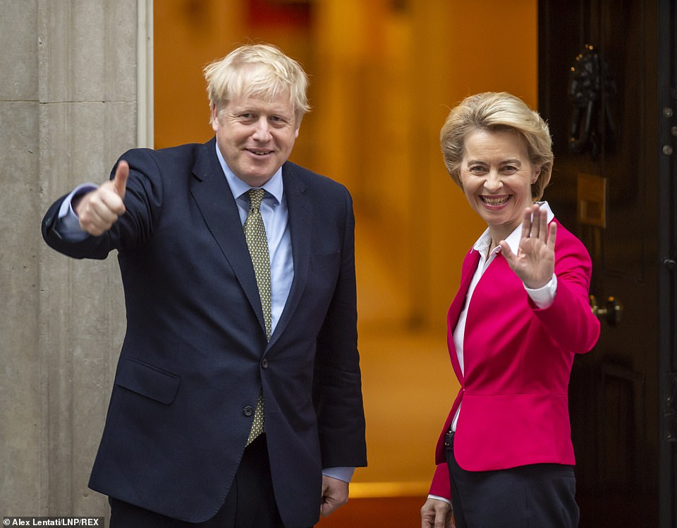 Last night it appeared that Britain had given ground on this major sticking point to get a deal done. Pictured:Boris Johnson with the President of the European Commission, Ursula von der Leyen, on the steps of No10 Downing Street earlier this year