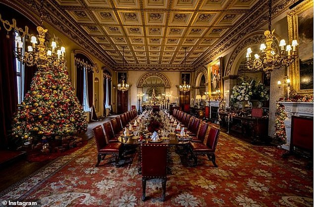 Emma showcased an image of Belvoir Castle dressed ready for Christmas with a giant tree, garlands and golden candlesticks (pictured)