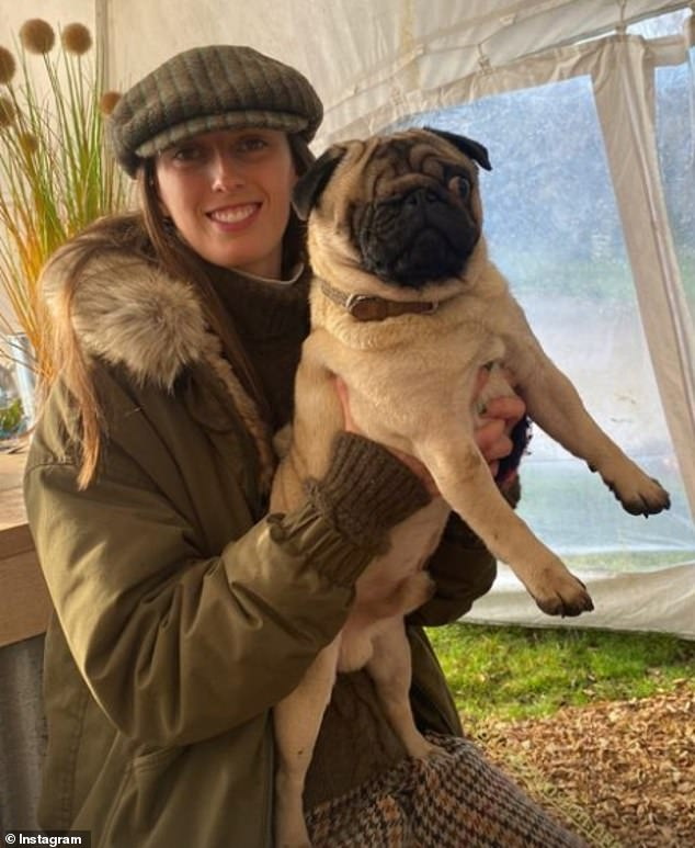 Lady Alice also appeared in her sister's snaps, with Lady Eliza sharing a picture of her sibling dressed in a tweed flat cap and matching green coat with a fur collar, while holding her dog