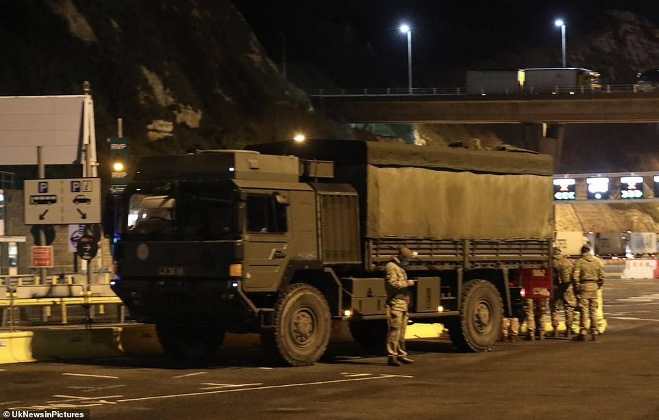 The additional manpower means there are now 1,100 soliders part of the effort to clear the 4,000 lorries waiting to drive to the Continent.Pictured: Dover on Christmas Eve