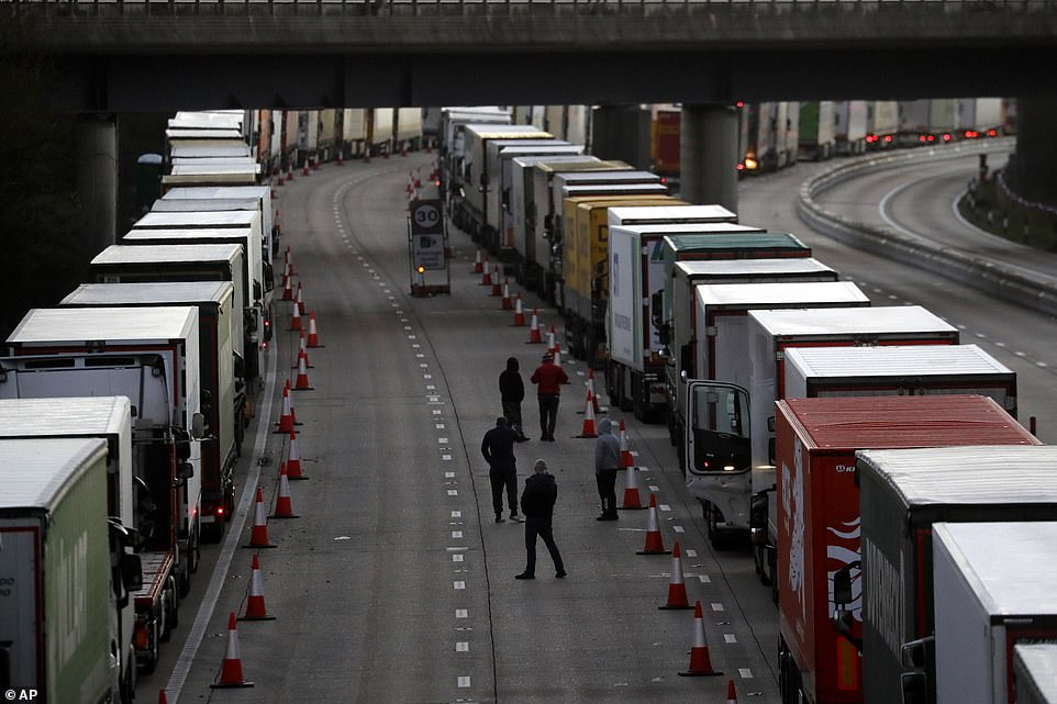 Drivers were seen on the motorway this morning coming out of their cabs to enjoy Christmas Day with other stranded drivers