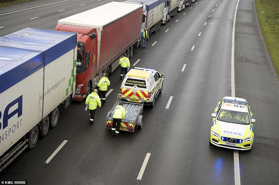 Hundreds of hauliers are lined on the M20 as part of Operation Stack waiting for a negative test result before they can make their way to the continent