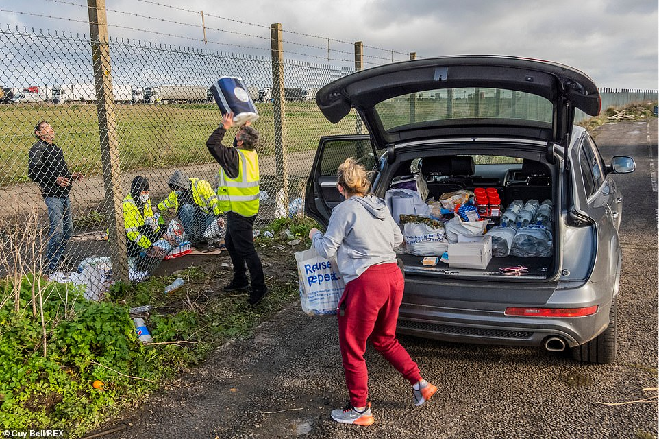 People fromFaversham are among the Kent locals who have rallied to help the stranded truck drivers who are waiting to be allowed to cross into France in order to travel home