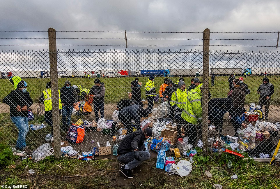 Drivers came to accept the donations at the perimiter fence at the disused Marston airport, which has been turned into a temporary truck stop since the French border closed