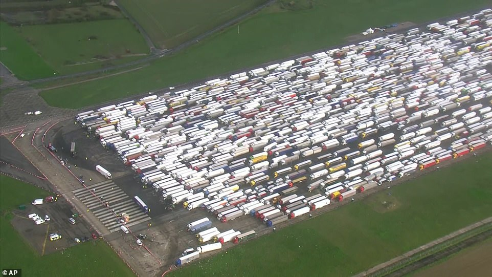 The drivers have been stranded on the M20 in Kent, at nearby Manston Airport (pictured) or in and around the streets of Dover after the travel ban, imposed by France after the identification of a new Covid strain in south-east England