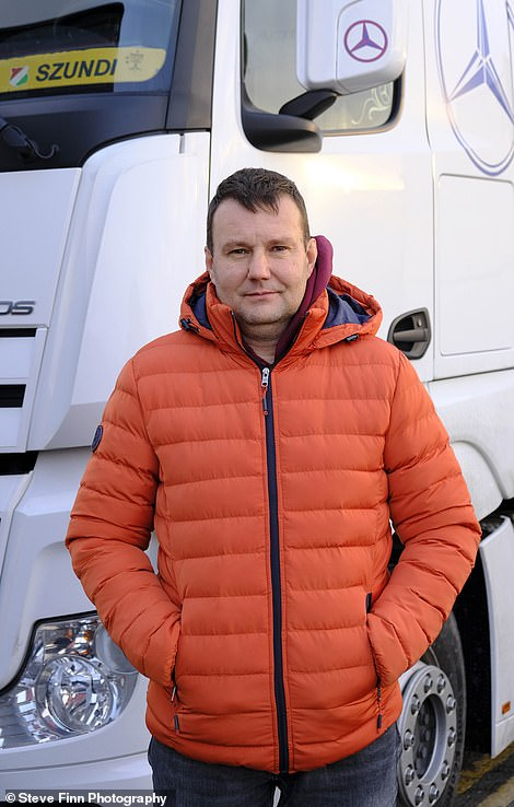 Andik Jozsef, 47, from Csokonyavisonta in Hungary is parked more than a mile from the front of the queue at Dover