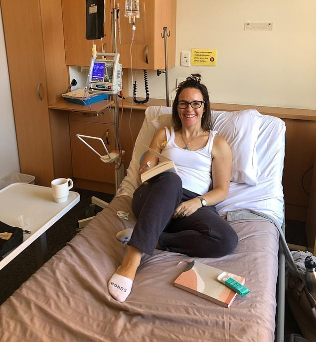 Ms Morton pictured on her first day of chemotherapy in 2019 said she battled the illness with a holistic approach
