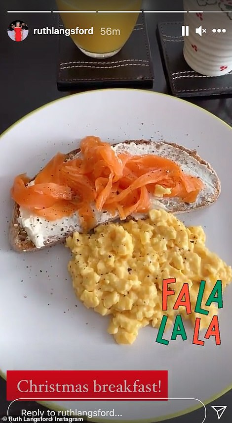 Yum! She also shared a snap of her delicious-looking breakfast of scrambled egg and smoked salmon