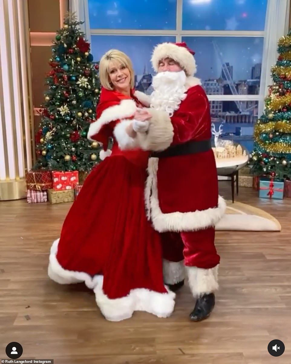 Father Christmas! Ruth Langsford wished her followers a Merry Christmas as she shared a picture of herself and husband Eamonn, 60, dressed up as Mr and Mrs Claus