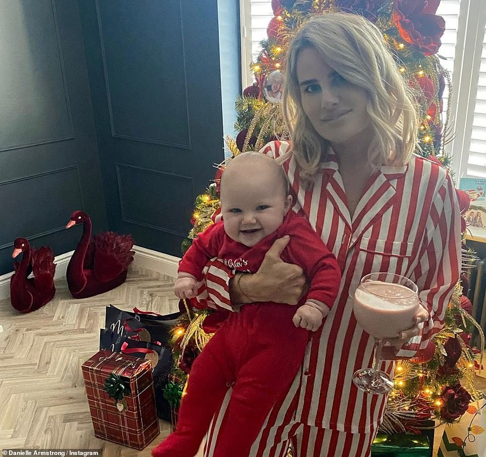 Morning: Danielle Armstrong shared an adorable snap of herself and daughter Orla on Christmas morning