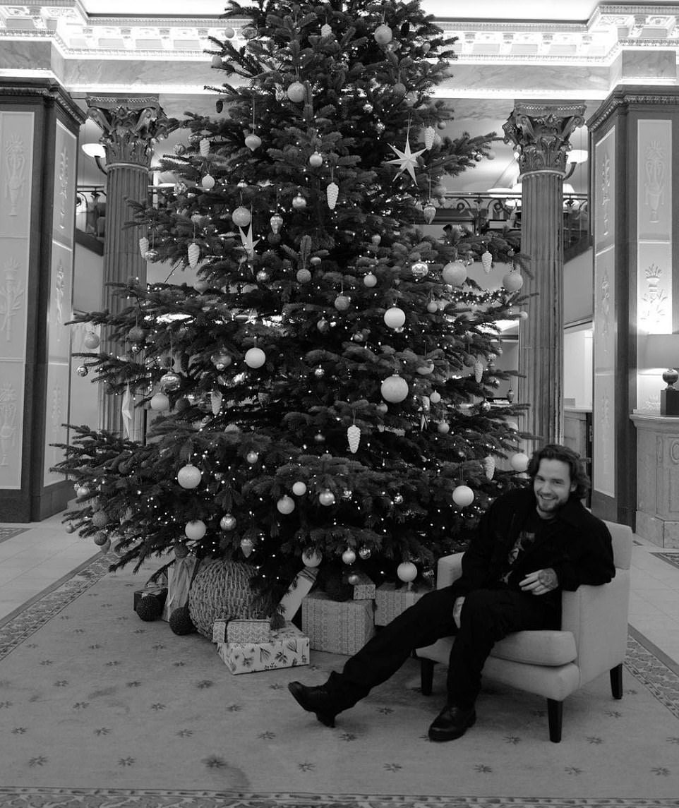 Black and white: Liam Payne shared a snap next to a Christmas tree and wrote: 'Happy holidays everyone, have a good one or as good as you can. We still have our spirit and that's all we need at this x'