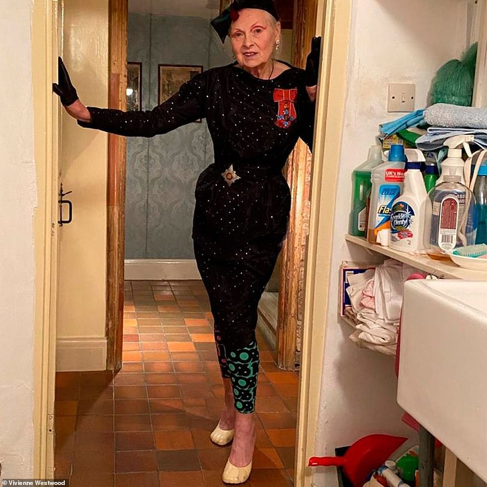 Glam! Meanwhile, Vivienne Westwood stayed true to her iconic fashion status, as she sported a bejewelled midi dress with a statement belt which cinched her svelte waist