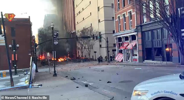 This was the scene in downtown Nashville on Friday morning after a parked vehicle exploded at 5.40am