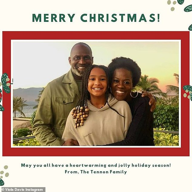 From her family to yours: Viola Davis shared her family's darling Christmas card with her 6.8million Instagram followers, writing: 'Merry Christmas!!! Wishing all the best to you and your loved ones!!!'