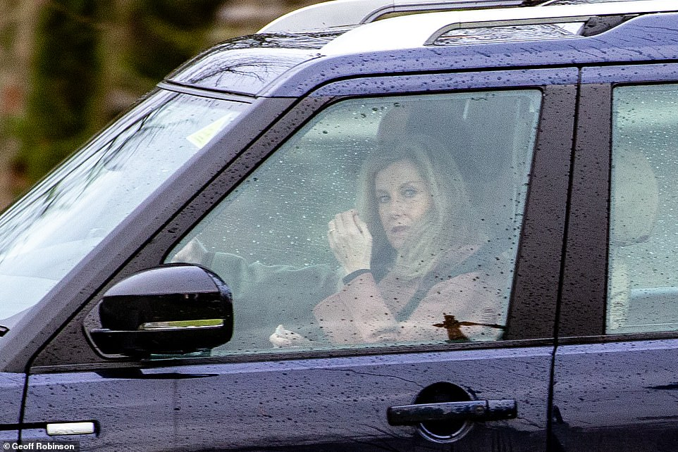 The couple were joined by their children James, Viscount Severn and Lady Louise Windsor at St Mary Magdalene Church in Norfolk. Pictured is Sophie in the front of the car