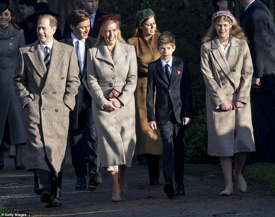 Prince Edward and Sophie attend last year's church service with their children James, Viscount Severn and Lady Louise Windsor