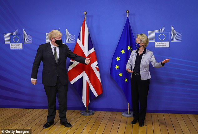 TheCentre for Economics and Business Research made the prediction after Boris Johnson struck an 11th-hour deal with the EU (pictured with PresidentUrsula von der Leyen)