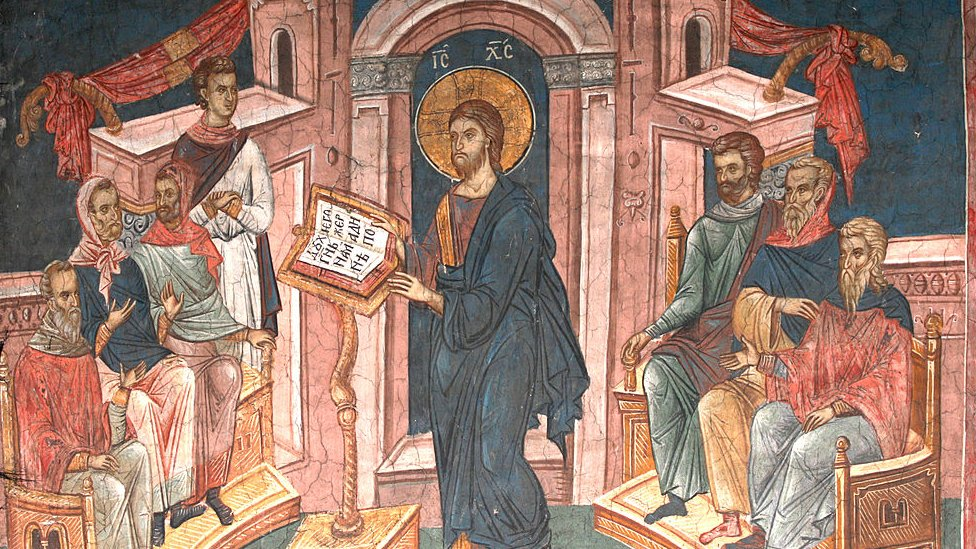 Painting of Jesus in a Nazareth synagogue.