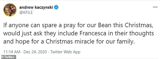 CNN political reporter Andrew Kaczynski tweeted about his daughter asking for prayers