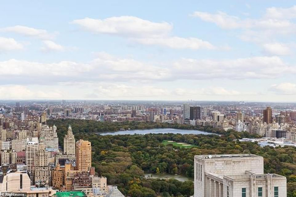 The property looks out on to New York's iconic Central Park. The flat is situated above the glamorous Mandarin Oriental Hotel
