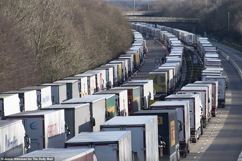 Many stranded drivers spent Christmas stuck in their truck cabs. Pictured: The M20 yesterday morning on Christmas Day